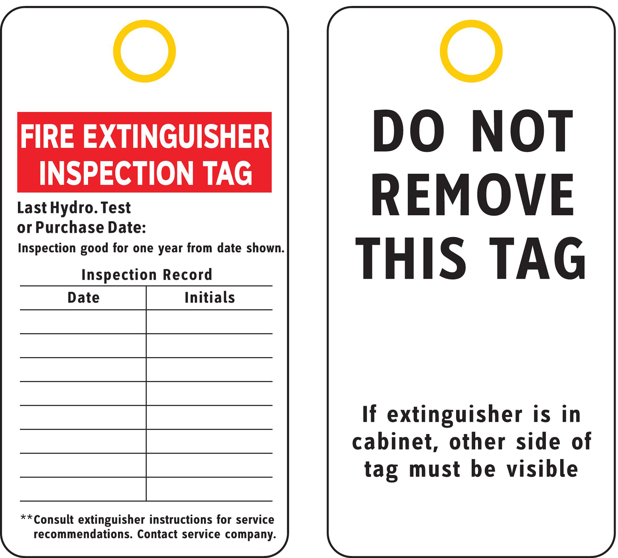 Accuform Signs Fire Extinguisher Recharge And Inspection Record