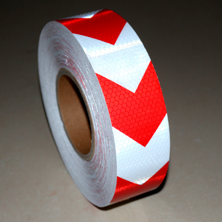 Red and white arrow reflective tape sticker