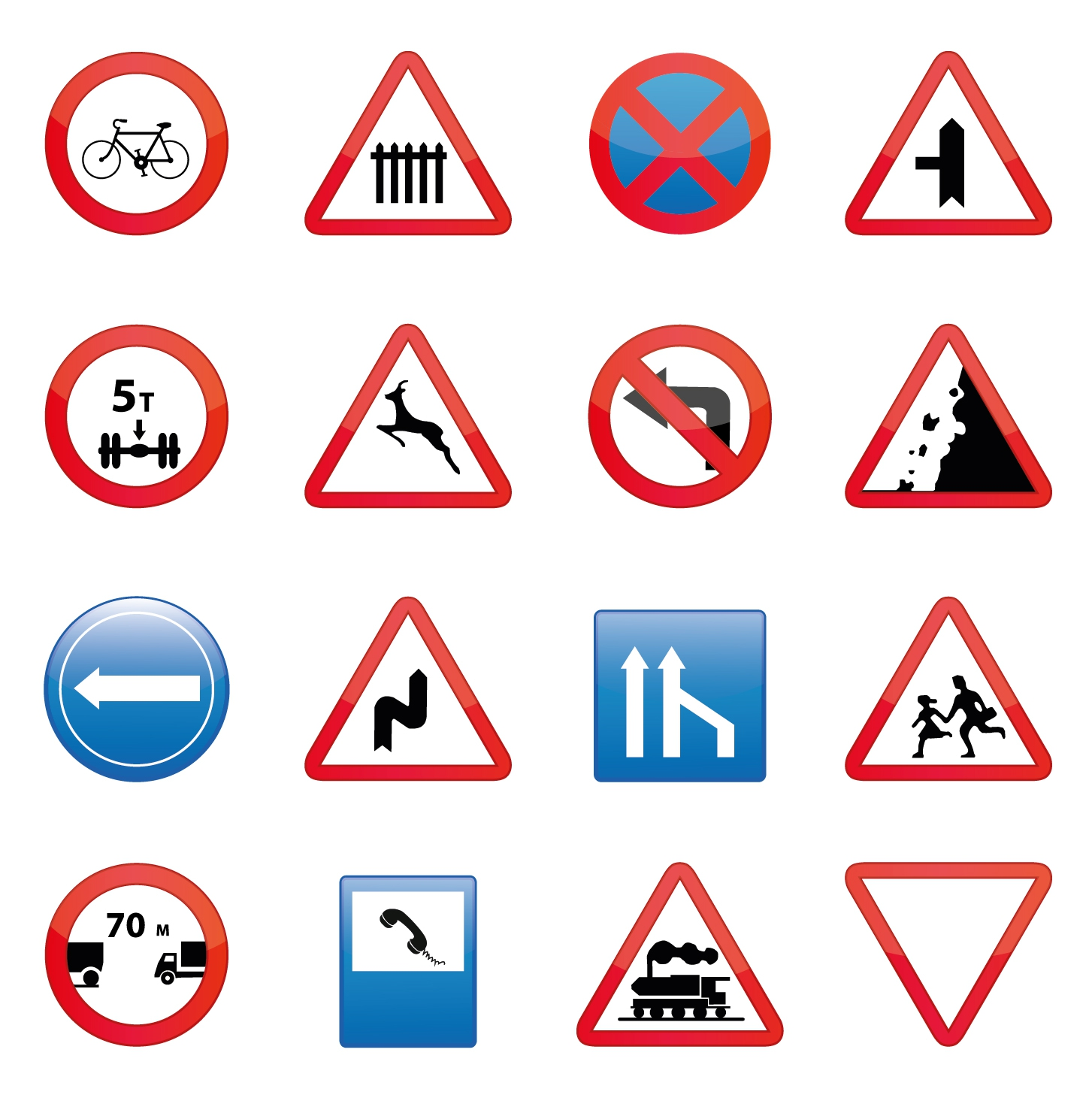 Safety sign road signs set
